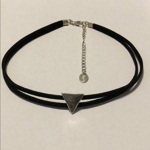 Claire's Black Suede Choker Silver Triangle